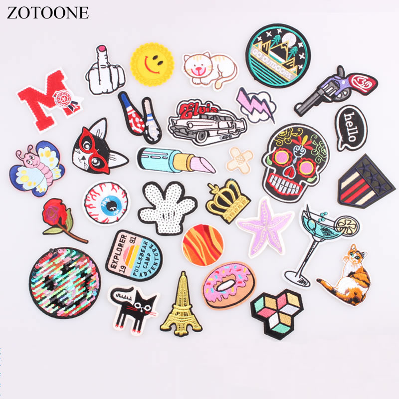 ZOTOONE Simile Skull Cat Space Flower Military Patch Iron on Embroidered Cartoon Patches for Clothes Sticker Jacket DIY Badges E