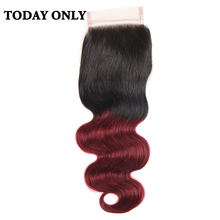 Today Only Non-remy Ombre Burgundy Brazilian Body Wave Human Hair Lace Closure 8″ to 20″ Two Tone 1b/99j 4×4 Swiss Lace Closure
