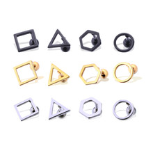 Модные серьги для мужчин и женщин, круглые треугольные квадратные серьги-гвоздики из нержавеющей стали, ювелирные изделия для пирсинга, 1 пара