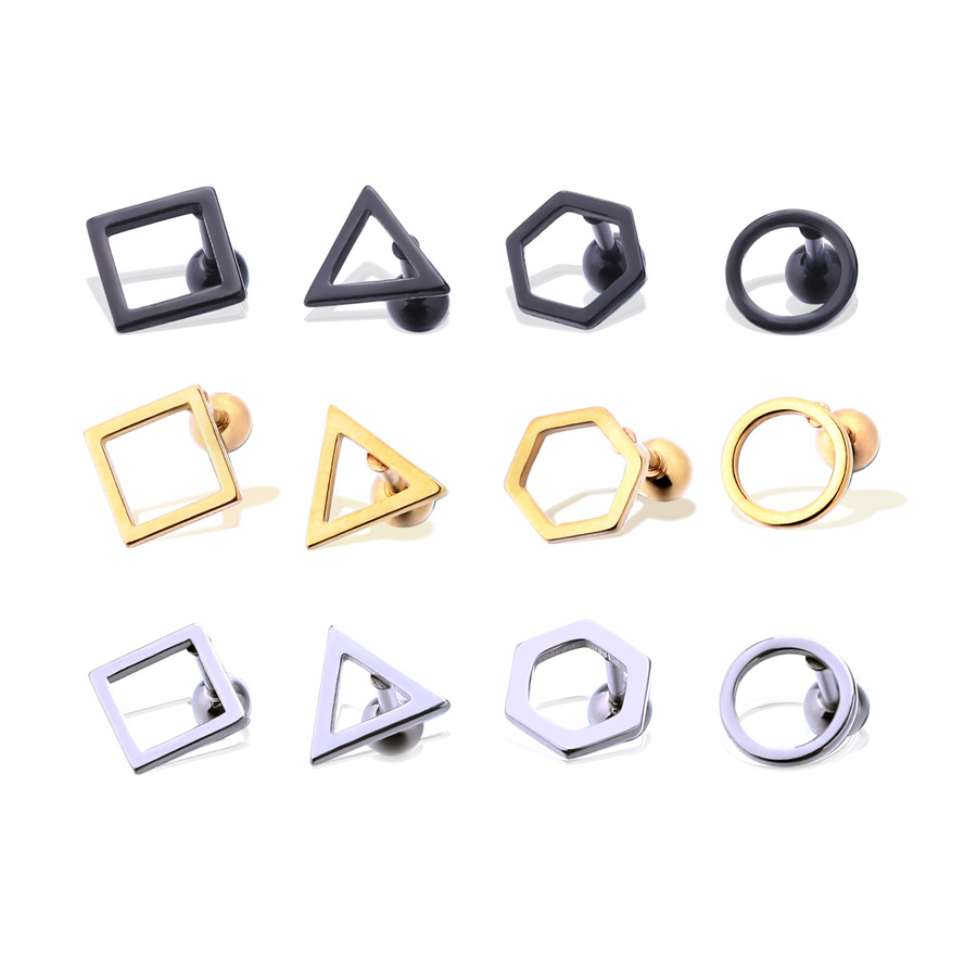 Man woman fashion earrings round triangle square ear stud stainless steel body piercing jewelry 1 pair