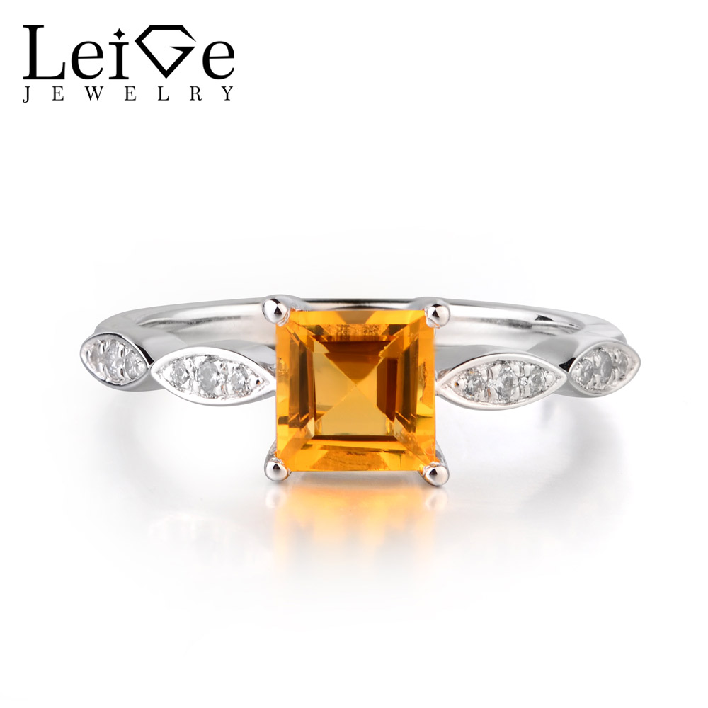 Leige Jewelry Natural Citrine Yellow Color Rings Square Shape Prong Setting Couples Engagement Rings 925 Sterling SilverLeige Jewelry Natural Citrine Yellow Color Rings Square Shape Prong Setting Couples Engagement Rings 925 Sterling Silver