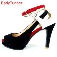 6f0e5a04b Marca New Classic Mulheres Roma Sandálias Plataforma Preto Branco Senhoras  Voga gladiador Sapatos de Salto Alto