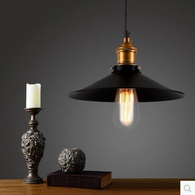 60w Retro Style Loft Edison Vintage Lamp Industrial Pendant Lighting Fixtures Black Lampshade Handing Lamp Light iwhd loft style creative retro wheels droplight edison industrial vintage pendant light fixtures iron led hanging lamp lighting