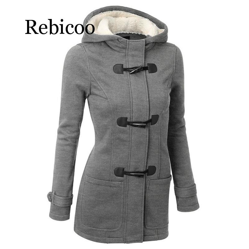 Rebicoo 2019 autumn and winter new womens coat hooded jacket zipper trumpet button