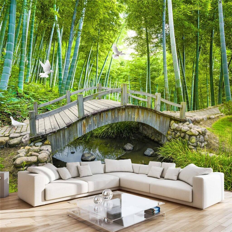 Home Design 3d Outdoor Garden On The App Store: Beibehang Small Bridge Water Bamboo Forest Photo Wall