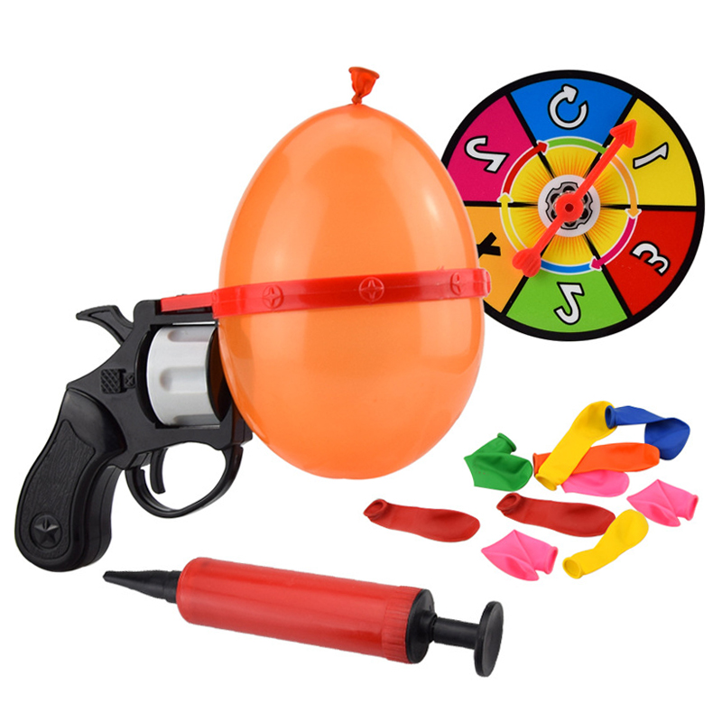 Russian Roulette Party Balloon Gun Model Creative  Toys Family Interaction Game Lucky Roulette Tricky Fun Gifts Interactive
