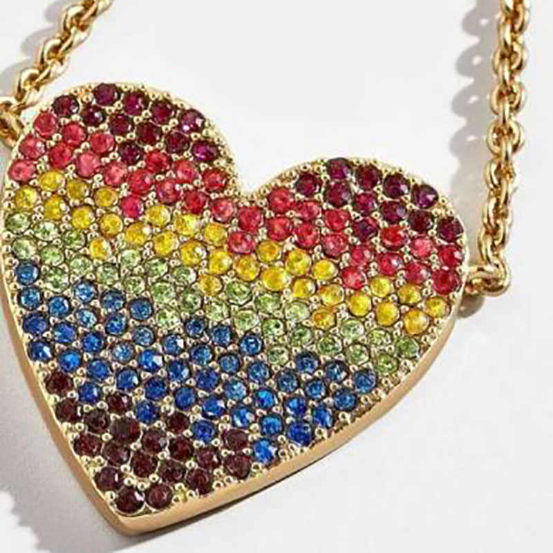 Best lady Shiny Colorful Heart Pendants Necklaces for Women Red Lips Simulated Pearl Chokers Wedding Elegant Statement Necklace