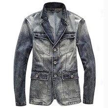 0f3d2f31cccd2 England Vintage Men  s Jean Jackets Brand Designer Big and Tall Mens Denim  Suit Jacket and Coat Plus Size 3XL Men Overcoat C1479