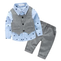 3 Pcs Sets Autumn Baby Boy Clothing Set Star Print Shirt Gray Vest Pants Gentleman Children
