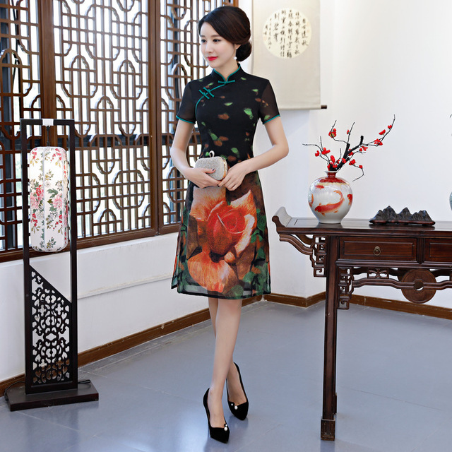 New Arrival Women Vantage Cheongsam Print Flower Slim Elegant Qipao Black  Chinese Plus Size Organza Mandarin Collar Dress M-3XL 6e9f46f5eab4