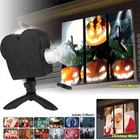 12 Movies Window Projector Halloween Outdoor Window Display Mini Projectors Laser Lamp Spotlights Christmas Party Decoration