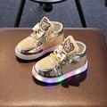 Crianças sapatilhas das meninas shoes 2017 primavera outono inverno crianças menino shoes chaussure enfant olá kitty baby shoes com led luz