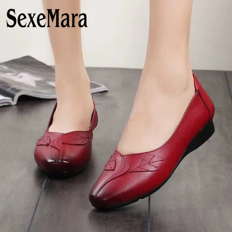 Mucca Donna Di Photo Color Sexemara A Primavera photo Modello Punta Flats Moda Scarpe Incinta Pelle Autunno Casual Infermiera Red Black Shoes Madre In photo XUU0xqIw