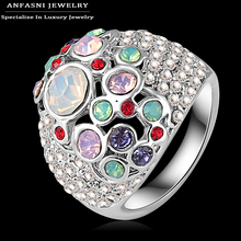 ANFASNI Fancy Ring Girls Jewelry Colorful Genuine Austrian Crystal Women Rings Ri-HQ0047