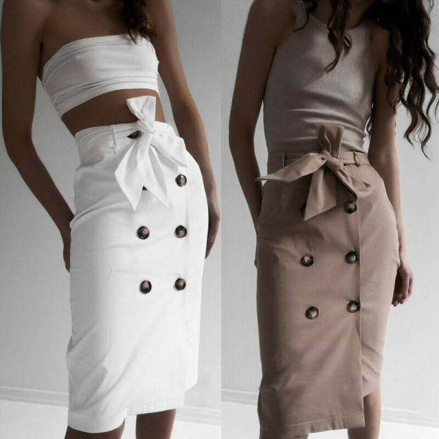 Womens Buttons Bandage Midi Skirt Ladies Sexy Wrap Party Club Wear Elegant Straight Empire High Waist Formal OL Office Skirts