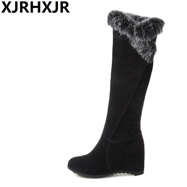 XJRHXJR Size34-43 Faux Fur Flat Hidden Heels Long Boots Women Fashion Wedges  Knee High Warm Shoes Ladies Winter Plush Snow Boots 9fd1791152c0