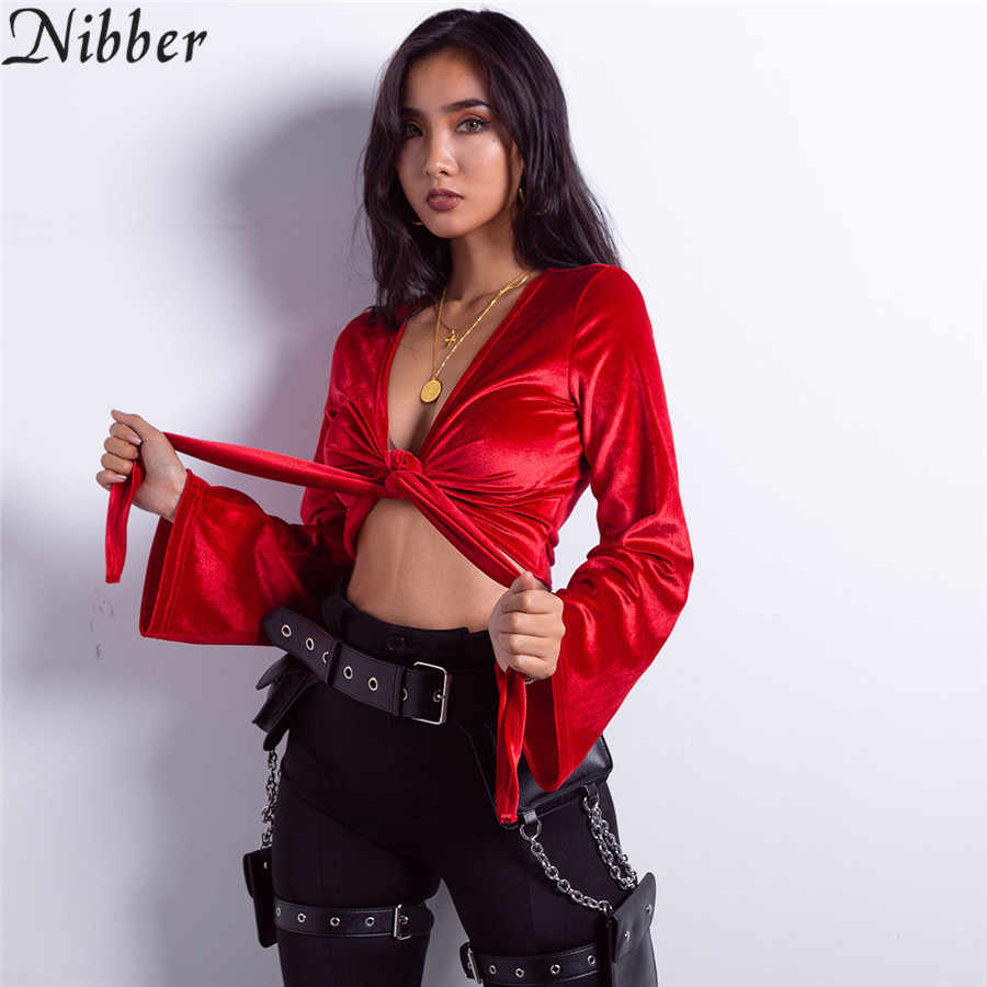 2a45b12d7c Nibber Women sexy red Deep V neck bow bandage crop tops 2019 spring fashion  Flare Sleeve