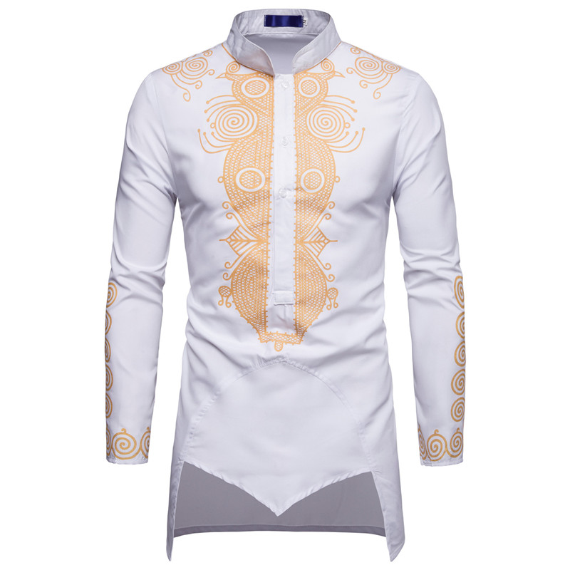 Image 4 - Men African Gold Polished Dashiki Turtleneck Half Button Shirt High Collar Asymmetrical Tailcoat Tunic Groom Top For Men 3XL-in Africa Clothing from Novelty & Special Use