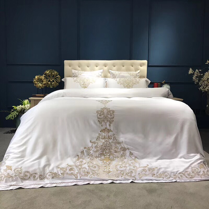 Gold silver white luxury silk Bedding Set queen king size bed set oriental embroidery duvet cover sets bedsheets linens set