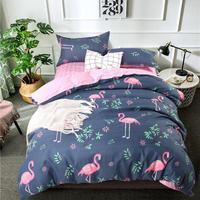 Pink Flamingo Duvet Cover Set Animal Printed Bird Bedding Set King queen full twin size Cute Girls flat sheet