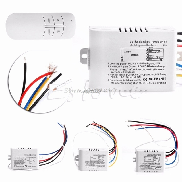 Wireless 1/2/3/ Channel ON/OFF Lamp Remote Control Switch Receiver Transmitter Whosale&Dropship