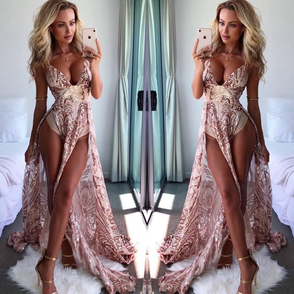 Sexy Deep V-Neck Long   Prom     Dresses   2019 Gorgrous Empire Slit Straight   Prom   Gowns Backless Evening Party   Dress   Vestidos De Gala