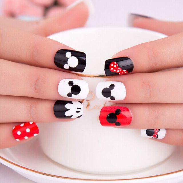 Children Minnie designed short square nail tips 12pieces/lot-in ...