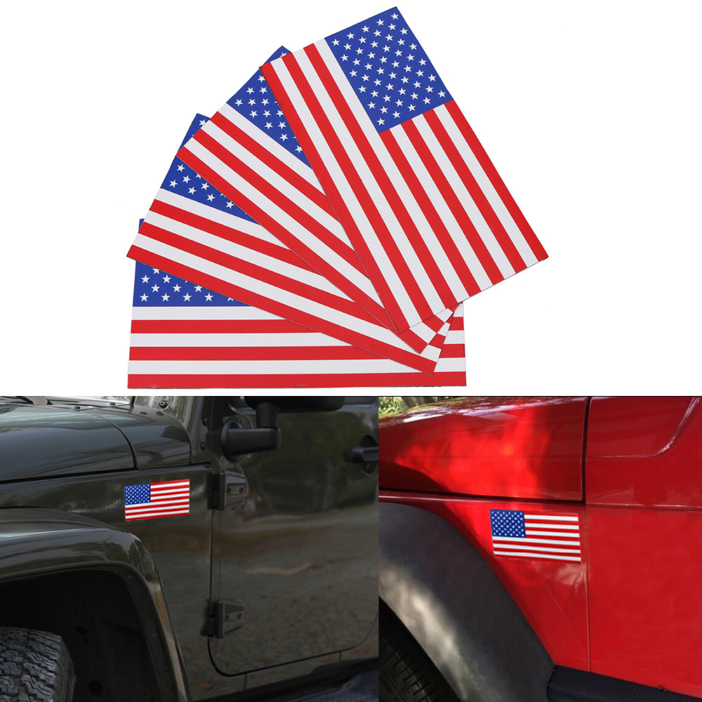 4PC 7.5x4 Removable Magnetic Car Stickers US Flag American Flag Car Bumper Decal Outdoor Magnet Signs on Left #SGB-10-4-TL