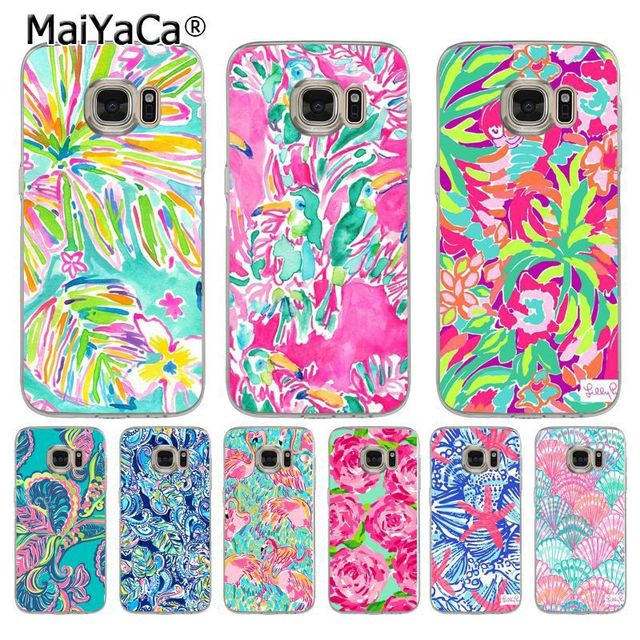 new arrival 311f7 3d330 US $1.32 49% OFF|MaiYaCa Lilly Pulitzer Summer flower Pink Coque Shell  Phone Case for Samsung S5 S6 S7 Edge S8 Plus S6 Edge Plus S3 S4-in  Half-wrapped ...