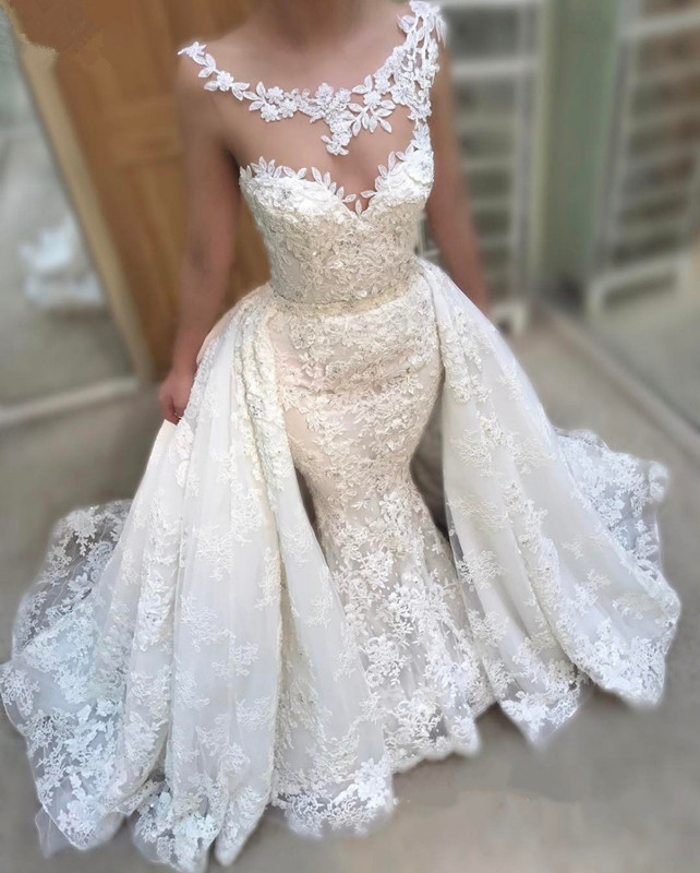Wedding Dresses With Detachable Tail: Wedding Dress Sheath Detachable Tail 2 Dress In 1 Style