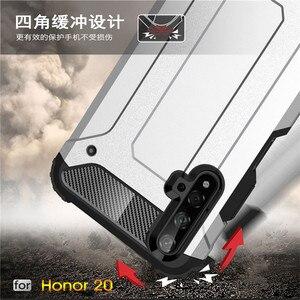 Image 4 - Huawei 명예 20 케이스 shockproof 부드러운 실리콘 갑옷 고무 하드 pc 전화 케이스 huawei 명예 20 다시 커버 명예 20