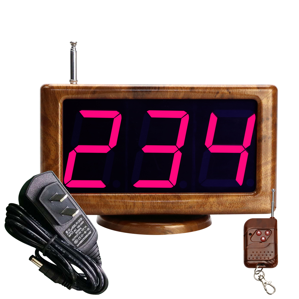 JINGLE BELLS wireless guest calling system for restaurant wood grain color LED screen display receiver main