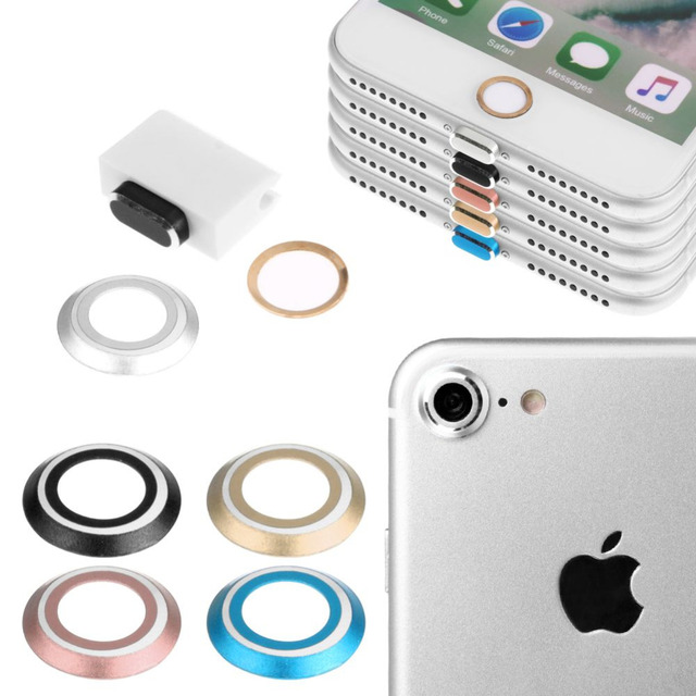 For iPhone 7/ 7 Plus Back Camera Lens Metal Protective Protector + Home Button Sticker + 3.5mm Earphone & 8 Pin Port Dust Plug