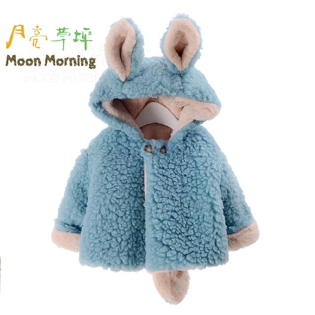 Lua Manhã As Crianças Jaqueta de Inverno Azul 12 M ~ 4 T Outono Presente de Natal para Crianças Vestuário Manga Comprida Quente Novo Faux Fur Roupas Meisjes