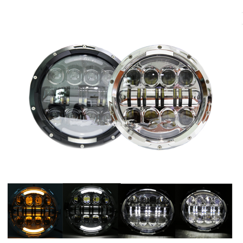 7 Round 80W Hi&Lo LED Headlight DRL Headlamp for Jeep Wrangler JK TJ CJ Patrol GR Y60 Hummer H2 Lada 4*4 Off road black chrome 2pcs 7inch round 105w led headlight drl turn signal for jeep wrangler hummer 4x4 4wd suv driving headlamp