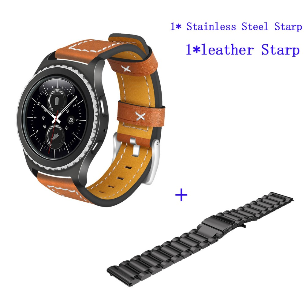 цена на Leather + stainless steel strap For Samsung Gear S2 Watch Band Gear Sport SM-R600 Gear S2 Classic SM-R732 SM-R735 Smart Starp