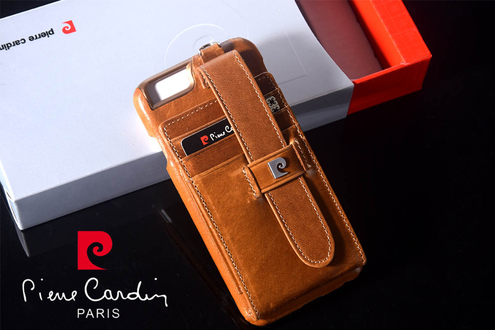 New Pierre Cardin Genuine Leather Credit Card Bag Pouch Wallet Hard Back Case Cover For iPhone