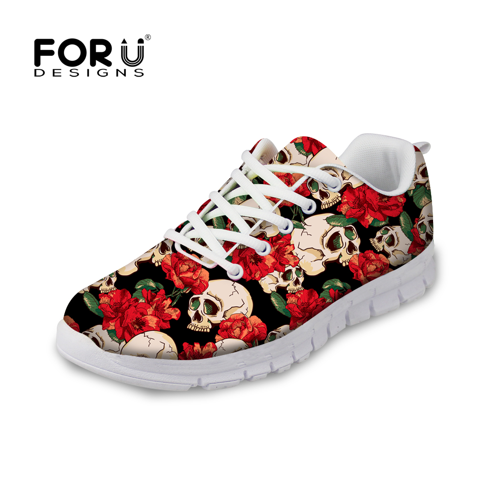 FORUDESIGNS Rose Skull Print Women Flats Shoes Lace-up Comfortable Shoes Female Flats Breathable Zapatos Mujer Casual Sneaker forudesigns women casual sneaker cartoon cute nurse printed flats fashion women s summer comfortable breathable girls flat shoes