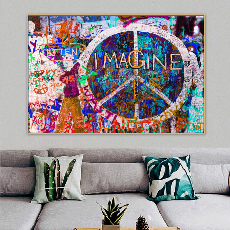 Peace Symbols Imagine Graffiti Street Art Mural Banksy Canvas Painting Posters Prints POP Wall Art Pictures  Bedroom Home Decor