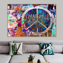 Peace Symbols Imagine Graffiti Street Art Mural Banksy Canvas Painting Posters Prints POP Wall Pictures  Bedroom Home Decor