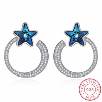 LEKANI Trendy Circle Star Stud Earrings For Women Fine Jewelry Crystals From SWAROVSKI Real 925 Silver Hanging Piercing