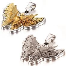 Exquisito Rhinestone Oro/Plata Animal Mariposa Colgante de Collar de Acero Inoxidable Para Las Mujeres Nuevo 2015 Joyería de Moda 45 cm