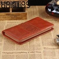 UniCalling New style Unisex cow leather long wallet Weave 8 Card Holder Zipper Genuine Leather men wallets Retro mini wallet