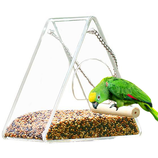 Bird Feeder Plastic Hanging Bird Food Container Transparent Outdoor Parrot Feeder Waterproof Bird Feeder Pet Supplies 2