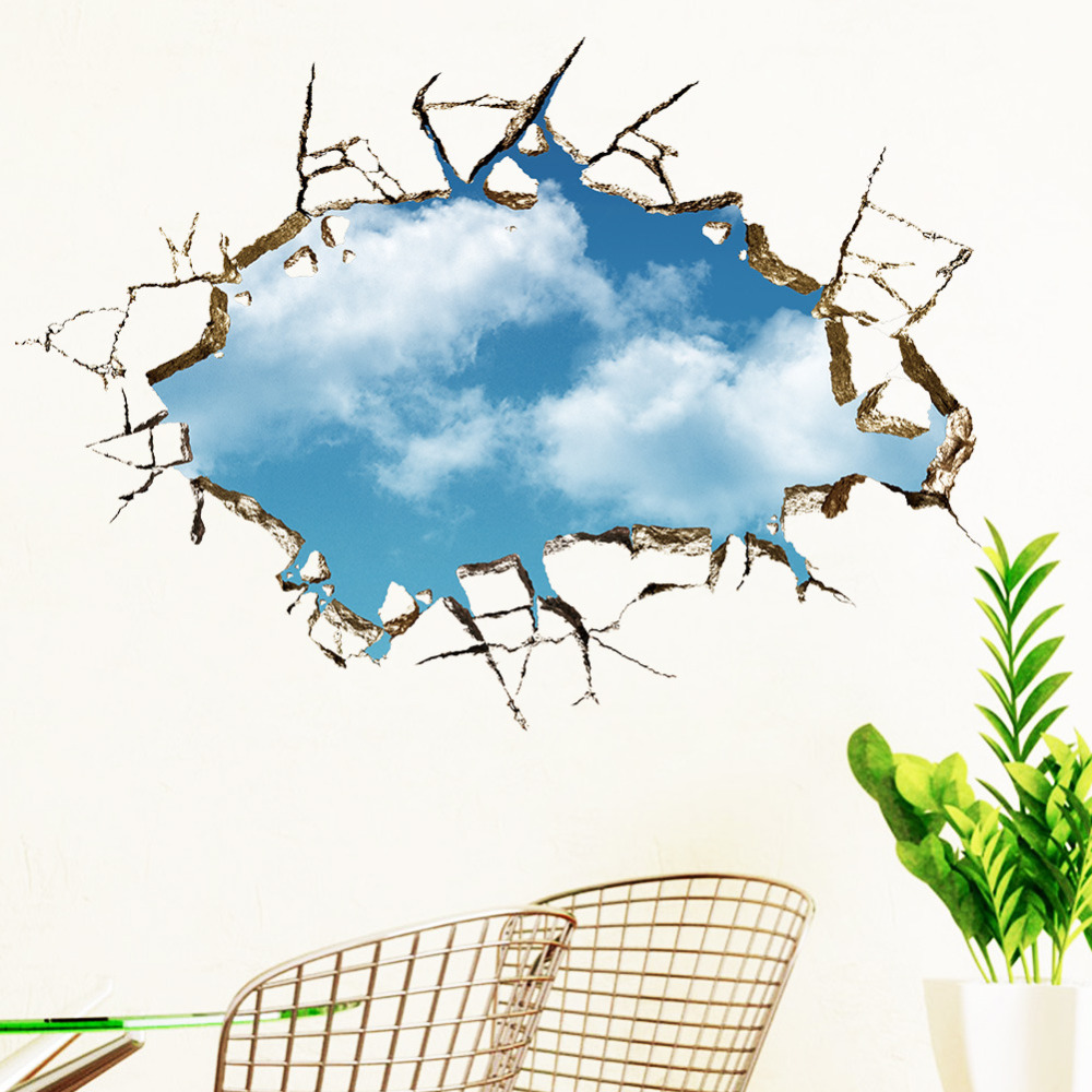 Sticker wall sticker 5070cm landscape blue sky white cloud poster 3d sticker wall sticker 5070cm landscape blue sky white cloud poster quarto bedroom wall decals amipublicfo Image collections
