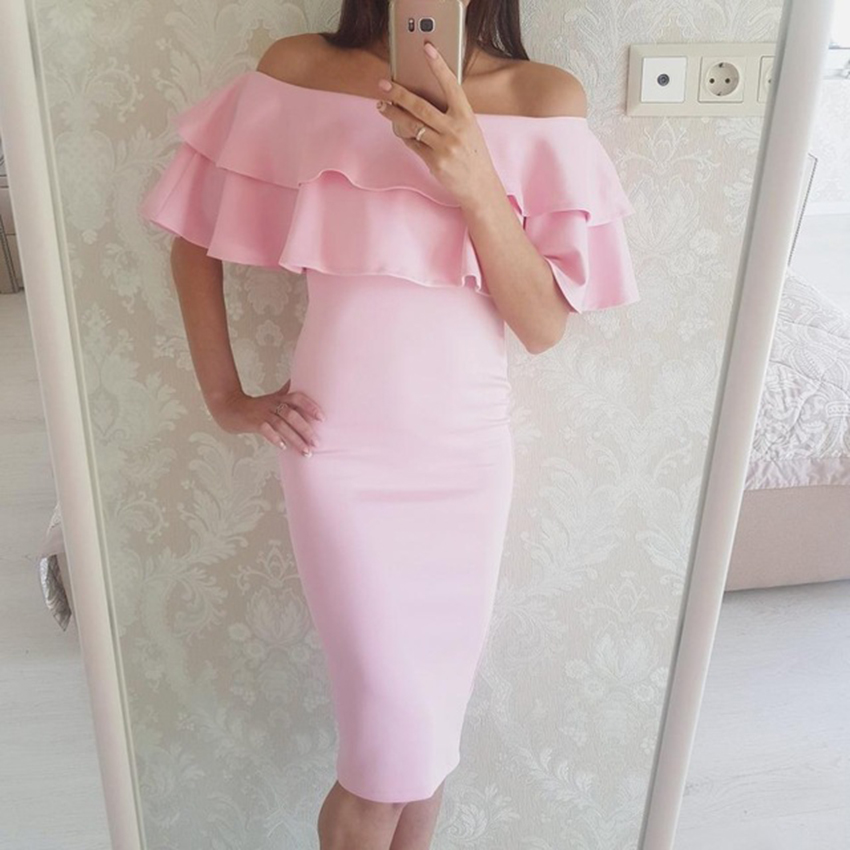 2017 Autumn new style women sexy black pink  dresses off the shoulder dress short sleeve Ruffle long dresses ladies party bodyc