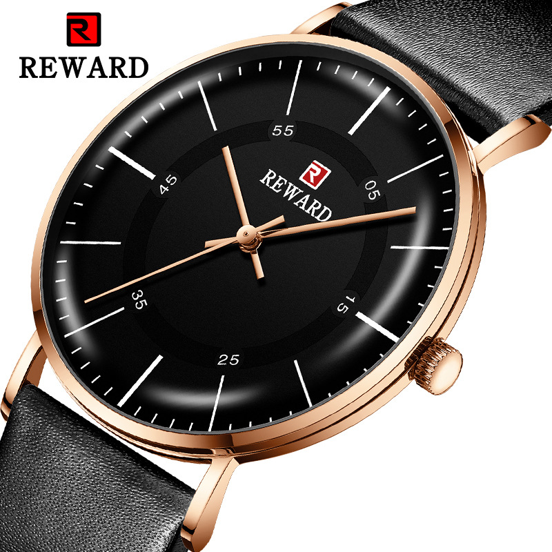 REWARD 2019 Hot Luxury Brand Watch Men Ultra-thin Leather Strap Minimalist Curved Mirror Waterproof Men Watch Relogio Masculino