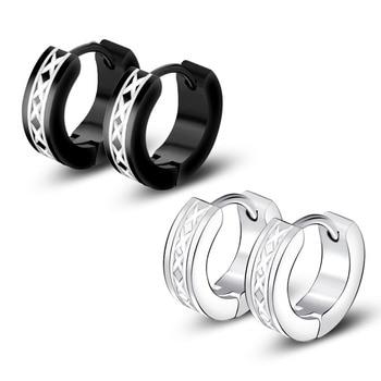 1Pair Small Hoop Earrings Creoles Titanium Stainless Steel Clicker Earrings For Men Anti allergic Silver Black.jpg 350x350 - 1Pair Small Hoop Earrings Creoles Titanium Stainless Steel Clicker Earrings For Men Anti-allergic Silver Black Free Shipping