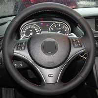 Black Leather Hand stitched Car Steering Wheel Cover for BMW E90 325i 330i 335i (No Drum kits )