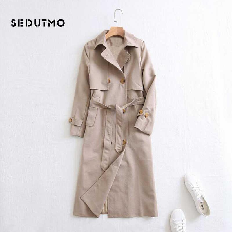 SEDUTMO осенний Длинный плащ Женское пальто оверсайз уличная Харадзюку двубортные куртки винтажное весеннее пальто Duster ED403